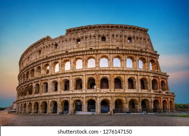 Ancient Colosseum in Rome. Famous Architecture in Italy.  A Stone Monument in the Roman History of Europe. Coliseum Roma Amphitheater Landmark.