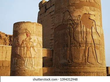 Ancient column in Temple of Kom Ombo, Egypt