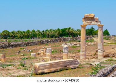Ancient columns and arch. Turkey. Pamukkale