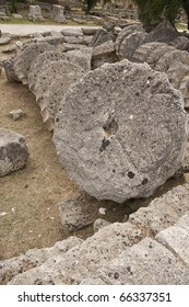 Ancient columns in Greece, on the floor, in mythical olympus, home of the greek pagan gods, Mount Olympus