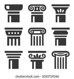 Ancient Columns Icon Set.