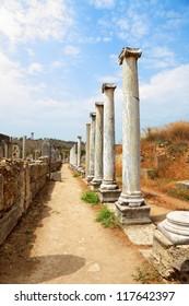 Ancient columns in Perge near Antalya, Turkey