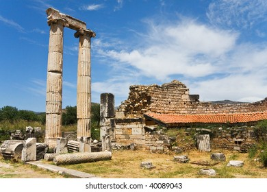 Ancient columns and ruins of wall, Aphrodisias, Turkey