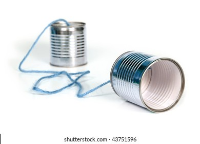 ancient communication - cans connected by blue string