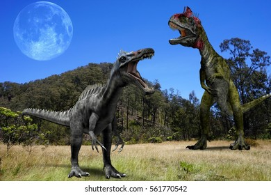 Ancient concept. Cryolophosaurus and Suchomimus with background mountain, moon and blue sky.