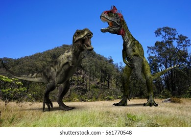 Ancient concept. T-Rex and Cryolophosaurus with background mountain and blue sky