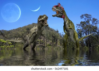 Ancient concept. T-Rex and Cryolophosaurus in the lake with background mountain and huge moon and planet.