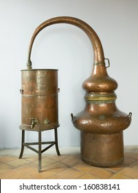 Ancient Copper boil kettle for the production of perfume, Grasse, France