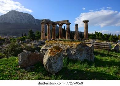 Ancient Corinth temple of Apollo Greece