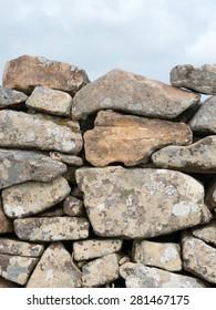 Ancient Cornish dry stone wall close up.