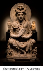 ancient cross-legged Bodhisattva schist statue image in 2nd century, Kushan dynasty from Gandhara, Pakistan.