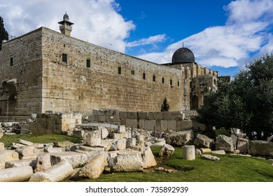 An ancient, crumbling wall located near the Western Wall (aka The Wailing Wall) on Temple Mount in Jerusalem, Israel.
