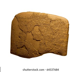 ancient cuneiform writing on clay tablets