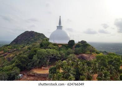 Ancient Dagobah Mahaseyya on Mount Ambasthala (Mango plateau). Mihintale, Sri Lanka