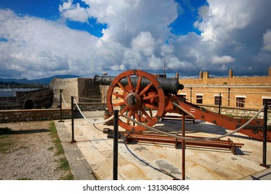 Ancient defensive weapon cannon in the old fortress of the city of Kerkyra on Corfu Island in Greece