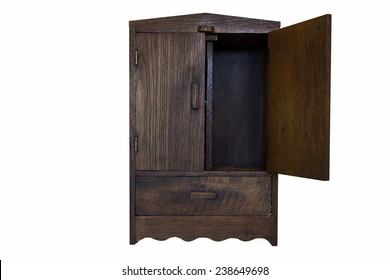 ancient design wood cupboard isolated on white background, right door opened