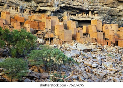Ancient Dogon and Tellem houses on the Bandiagara escarpment in Mali with trees