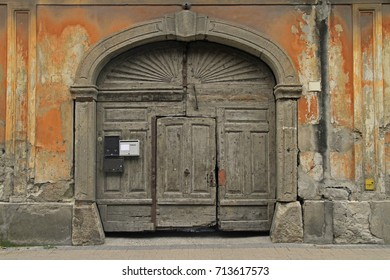 ancient door in the center of Eger, Hungary