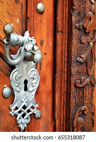 ancient door close up - beauty on the streets of Prague, turist view, historical place