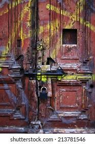 Ancient Door with Padlocks