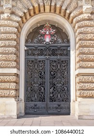 Ancient door at the Town Hall in Hamburg city