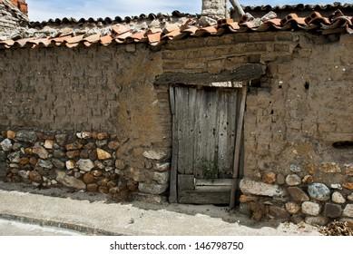 Ancient door and  in the village