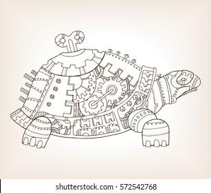 Ancient draft of mechanical turtle raster illustration. Mechanical animal.