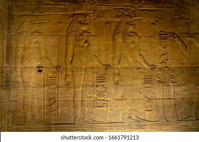 Ancient drawings inside the Temple of Isis in Aswan, Egypt