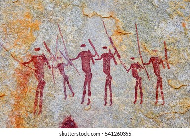 Ancient drawings of the San people in the rocks on the border of Mozambique and Zimbabwe