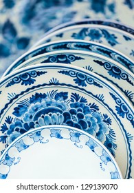 Ancient Dutch porcelain blue and white dishware from Delft