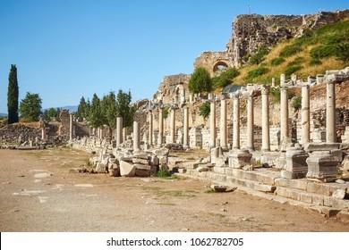 Ancient Efes (Efesus) city ruins in Turkey