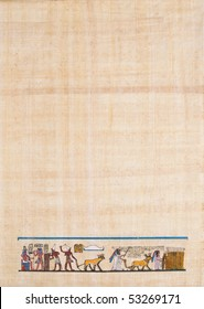 ancient Egyptian agriculture scene on papyrus paper