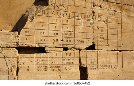 Ancient Egyptian calendar engraved on the stonewall of the Temple of Karnak, Luxor, Egypt