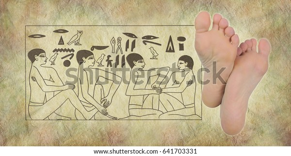Ancient Egyptian Hieroglyphics Reflexology Pair Female Stock