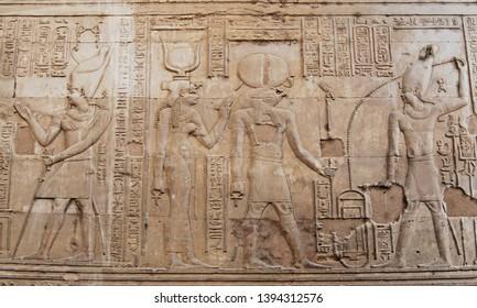 Ancient egyptian hyeroglyphs in Temple of Kom Ombo, Egypt