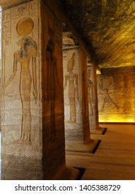 Ancient Egyptian painting on the wall in Great Temple, Abu Simbel in Egyptian, in Nubia village in Egypt. The complex is part of UNESCO World Heritage Site, known as the Nubian Monuments. 2010-4