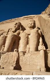 Ancient egyptian pharaoh sculptures.  Abu Simbel, Egypt