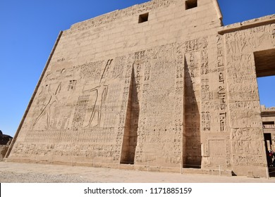 Ancient Egyptian Pharaonic Temple hieroglyphic Craved walls