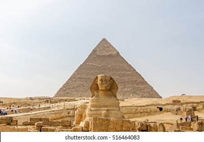 Ancient Egyptian Pyramid of Khafre Giza and Great Sphinx