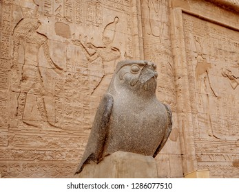 Ancient Egyptian statue of Horus God at the Temple of Horus also known as Edfu or Idfu