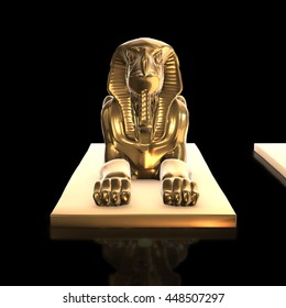 Ancient egyptian statue sculpted in golden  - Isolated on black background. 3d render.