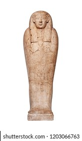 An ancient Egyptian stone sarcophagus isolated against white.
