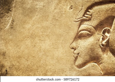 Ancient Egyptian stone texture background combined from different images with a lot of blank space for your design