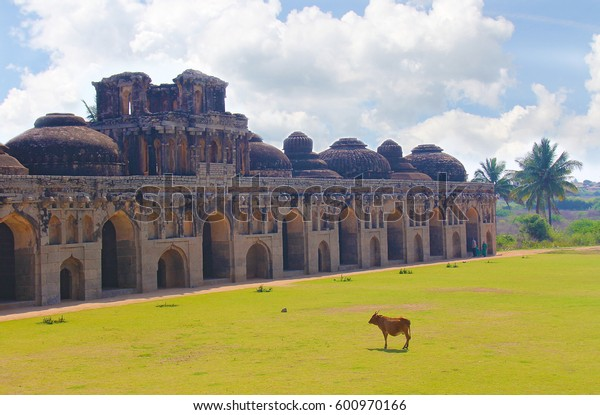 Ancient Elephant stables among the ruins of Hampi, India