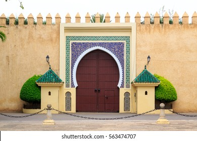 Ancient entrance door  at the Royal palace in Morocco Fez