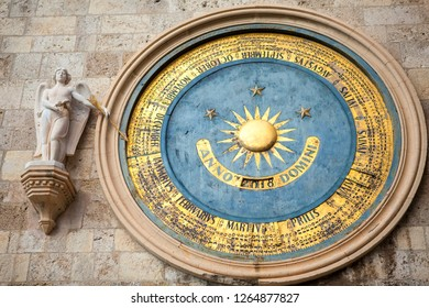 Ancient eternal Astronomical Clock of the Cathedral of Messina with Perpetual calendar on the bell tower dedicated to Holy Mary, Sicily. Italy