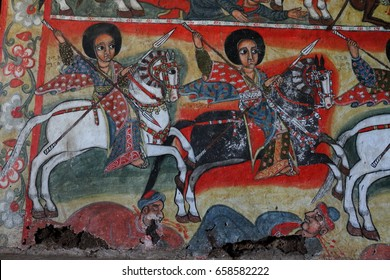 Ancient Ethiopian Religious Art Depicting Christians on Horseback Killing Non-Believers