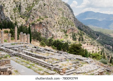 ancient excavations in Delphi , Greece