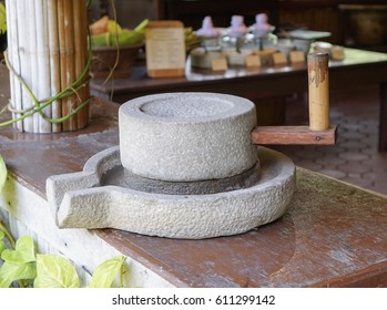 Ancient Flour Mill Millstone Quern Stone Use For Grinding Wheat Or Other Grains