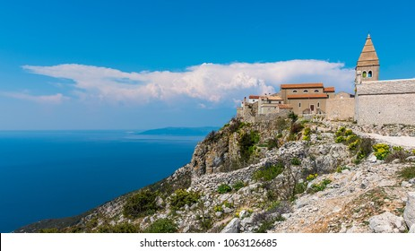 Ancient fort city Lubenice on island of Cres in Croatia that was founded four thousand years ago on top of a 380 m high ridge that overlooks the Adriatic Sea